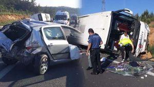 TEM'de kaza: 1 ölü 15 yaralı